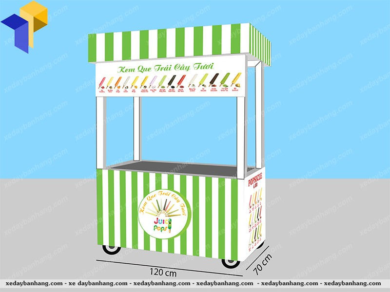 Xe bán kem sinh tố trái cây
