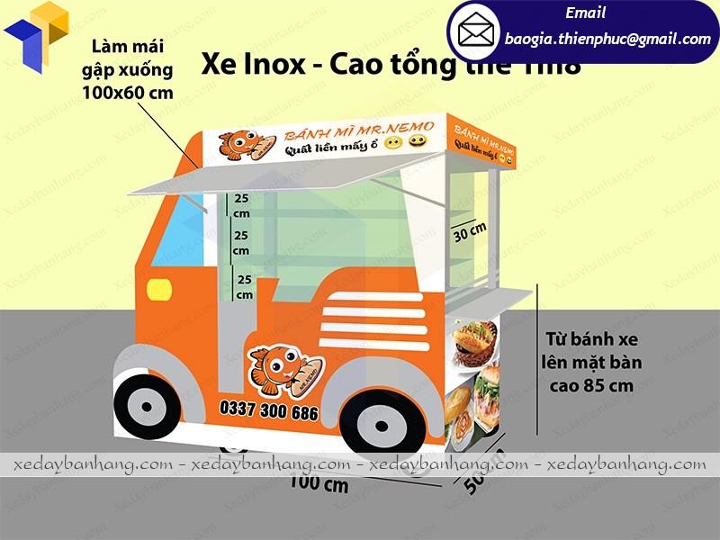 Xe bán bánh mì bằng inox lưu động giá rẻ