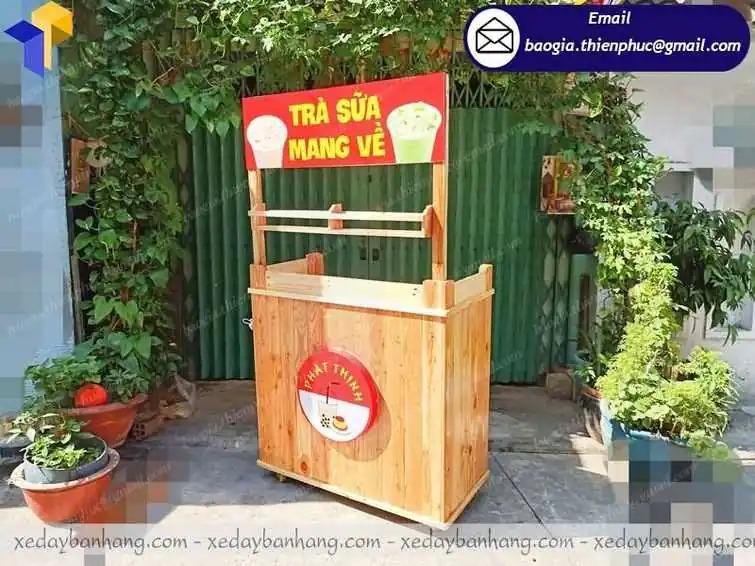 đóng xe trà sữa take away bằng gỗ