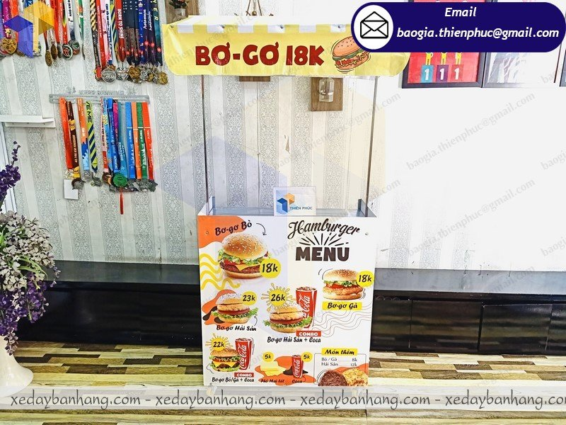nơi bán xe bán hamburger gấp gọn