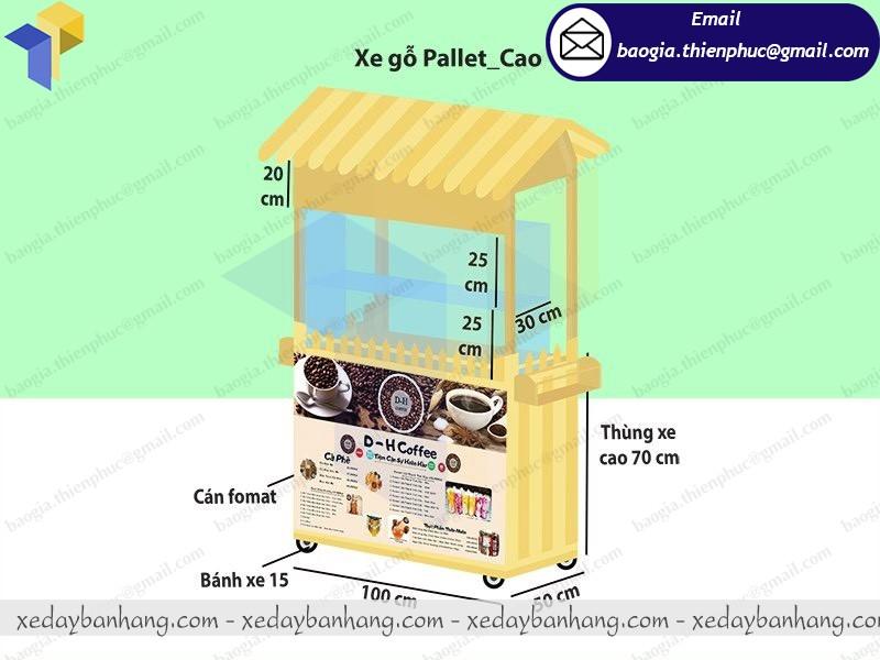 thiết kế tủ bán cà phê di động bằng gỗ