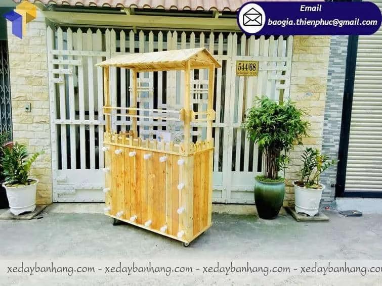 thiết kế tủ bán cam ép bằng gỗ