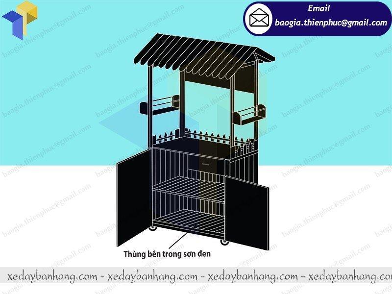 thiết kế tủ bán hàng lưu động bằng gỗ