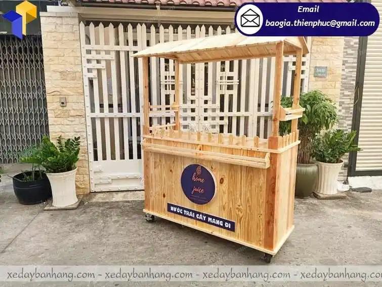 thiết kế xe gỗ bán sinh tố nước ép