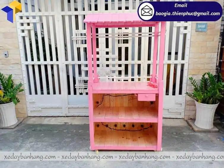 thiết kế xe gỗ bán trà sữa giá rẻ