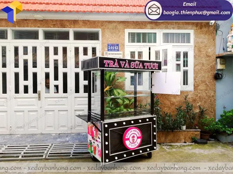 thiết kế  xe inox bán trà sữa di động