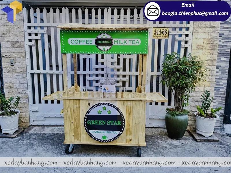 xe bán cà phê bằng gỗ
