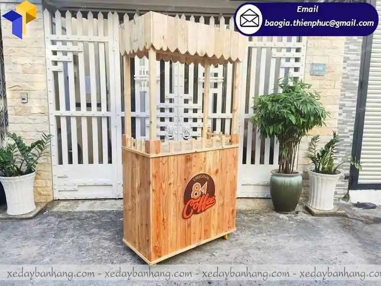 xe bán cafe mang đi bằng gỗ