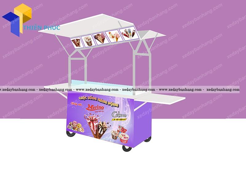 Xe bán kem lưu động bằng inox giá rẻ