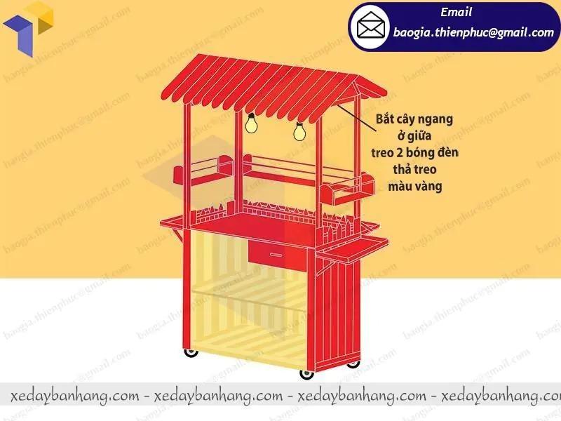 xe bán trà dâu bằng gỗ giá rẻ
