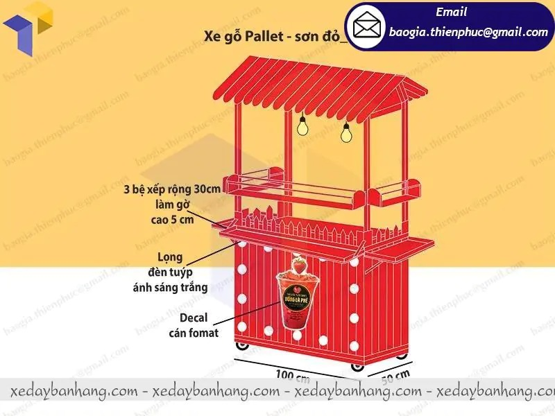 xe bán trà dâu bằng gỗ