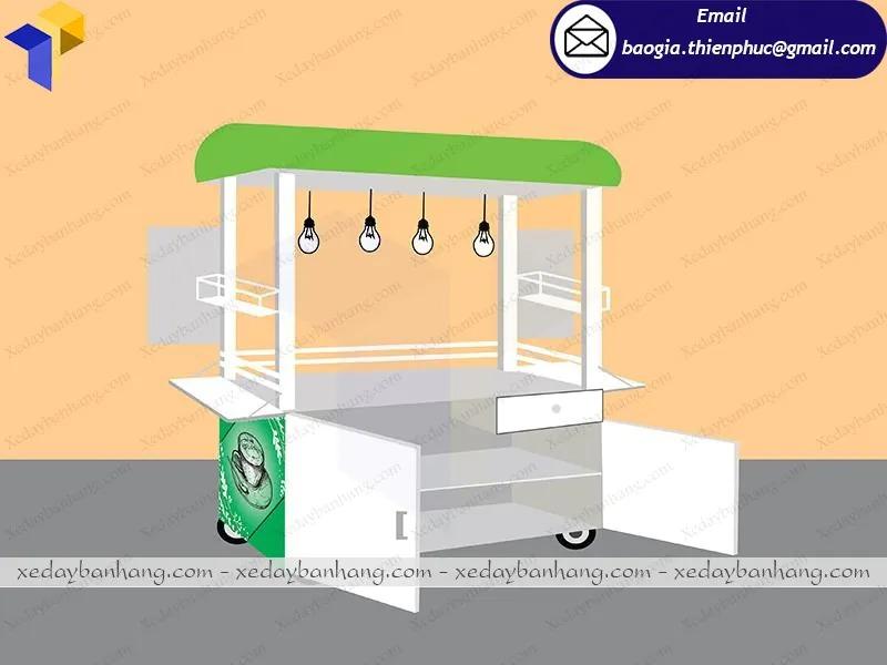 xe bán trà sữa vỉa hè  bằng inox