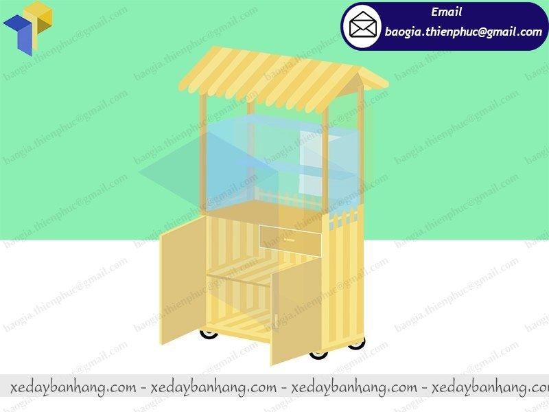 xe đẩy bán bán bánh mì chay bằng gỗ