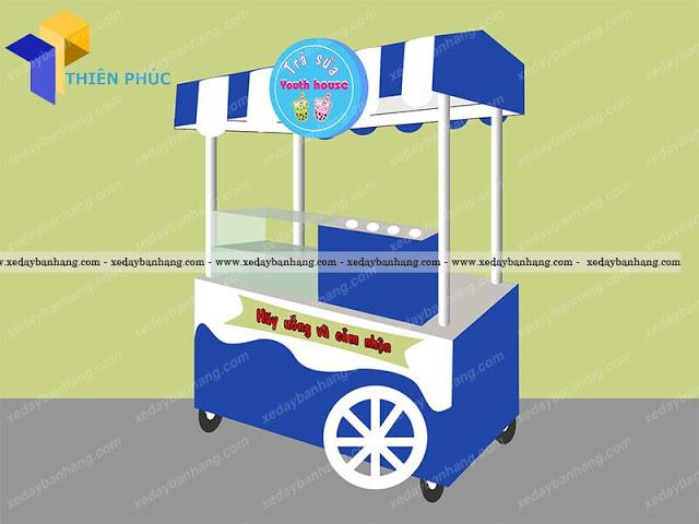 Xe đẩy bán trà sữa di động bền đẹp phong cách