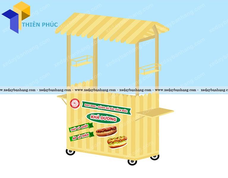 Xe gỗ bán bánh mì hamberger giá rẻ