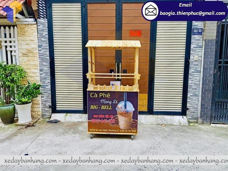 xe gỗ bán cafe dạo