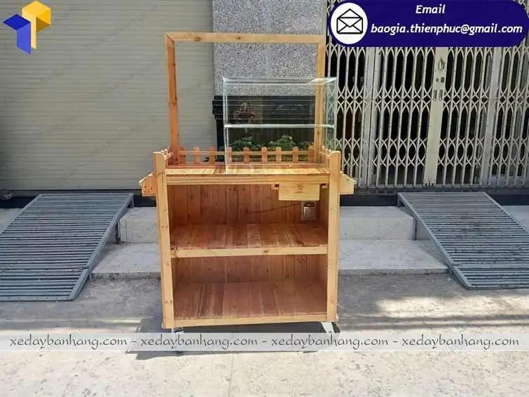 xe trà sữa lưu động bằng gỗ hcm