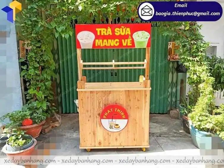 xe trà sữa take away bằng gỗ