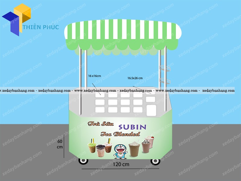 Xe trà sữa tự chọn SUBIN bằng inox bền đẹp
