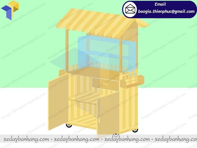 xưởng đóng tủ bán cà phê di động bằng gỗ
